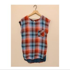 Plaid Anthropologie Top with gold tinsel detail